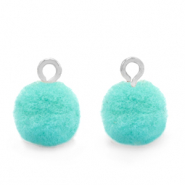 Pompom charms with loop 10mm Silver-Icy Morn Blue