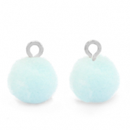 Pompom charms with loop 10mm Silver-Pastel Blue