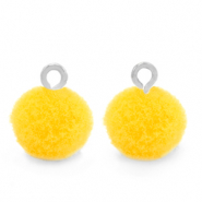 Pompom charms with loop 10mm Silver-Sunshine Yellow