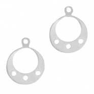 925 Silver charms round with loops Silver