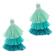Tassels 3-layer 3.2cm Silver-Multicolour Turquoise