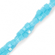 Top faceted beads cube 2x2mm Cyan Blue-Pearl Shine Coating