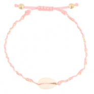 Ready-made Bracelets Cowrie braided Light Pink