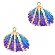 Shell pendant specials Cockles Gold-Blue Purple Ombre