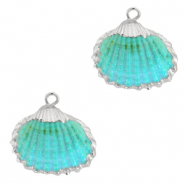 Shell pendant specials Cockles Silver-Turquoise Blue
