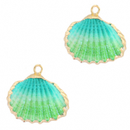 Shell pendant specials Cockles Gold-Turquoise Ombre
