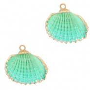 Shell pendant specials Cockles Gold-Spring Turquoise Green
