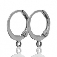 Stainless steel findings closable earrings with loop Silver