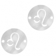Stainless steel charms/connector zodiac sign Leo Silver