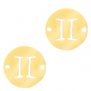 Stainless steel charms/connector zodiac sign Gemini Gold
