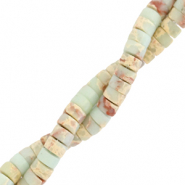 Natural stone beads disc 4mm Marble Light Turquoise Blue