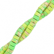 Natural stone beads disc 4mm Marble Macaw Green
