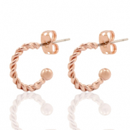 DQ European metal findings creole earrings 11mm Rose Gold (nickel free)