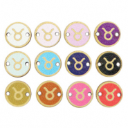 Wooden pendants/connector 12mm zodiac sign Taurus Multicolour Gold