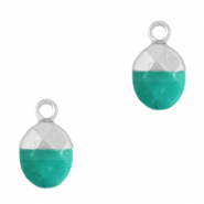 Natural stone charms Eden Green-Silver