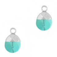 Natural stone charms Turquoise-Silver