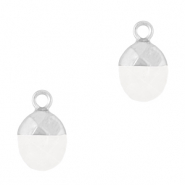 Natural stone charms Crystal White-Silver