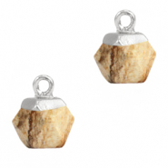 Natural stone charms hexagon Light Brown-Silver