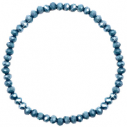 Top faceted bracelets 4x3mm Peacoat Blue-Pearl Shine Coating