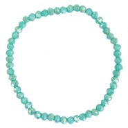 Top faceted bracelets 4x3mm Light Teal Green-Pearl Shine Coating