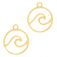 Stainless steel charms wave Gold