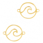 Stainless steel charms/connector wave Gold