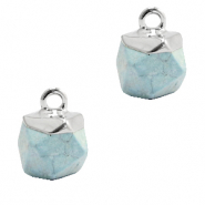 Natural stone charms hexagon Ice Blue-Silver