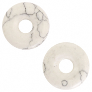 Natural stone charm disc Marble White