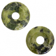 Natural stone charm disc Multicolour Green