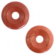 Natural stone charm disc Red Ochre Brown