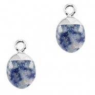 Natural stone charms Blue White-Silver