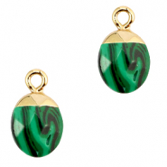 Natural stone charms Green-Gold