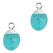 Natural stone charms Turquoise Blue-Silver
