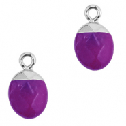 Natural stone charms Purple-Silver