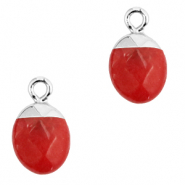 Natural stone charms Crimsom Red-Silver