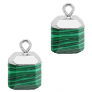 Natural stone charms square Green-Silver