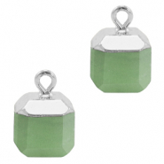 Natural stone charms square Ocean Green-Silver