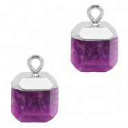 Natural stone charms square Purple-Silver