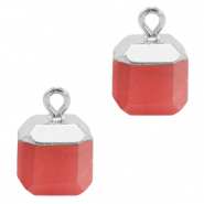 Natural stone charms square Crimsom Red-Silver