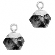 Natural stone charms hexagon Anthracite-Silver