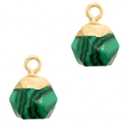 Natural stone charms hexagon Green-Gold