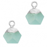 Natural stone charms hexagon Icy Morn Blue-Silver