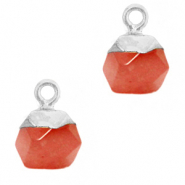 Natural stone charms hexagon Crimsom Red-Silver