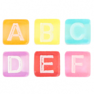 Acrylic letter beads mix Multicolour Transparent-White