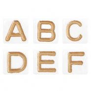 Acrylic letter beads mix White-Rose gold