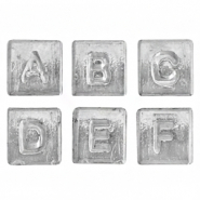 Acrylic letter beads mix Metal look-Silver