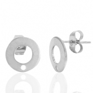 Stainless steel earrings/earpin round 10mm with eye Silver