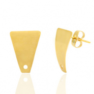 Stainless steel earrings/earpin trapezoid with eye Gold