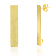 Brass TQ metal earpin rectangle with loop Gold