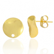 Brass TQ metal earpin round 12mm with eye Gold